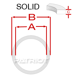 """BU PTFE SOLID 2-1/8"""" 2-1/2"""" 0.076"""" 3/16"""" brought to you by Patriot Fluid Power"""
